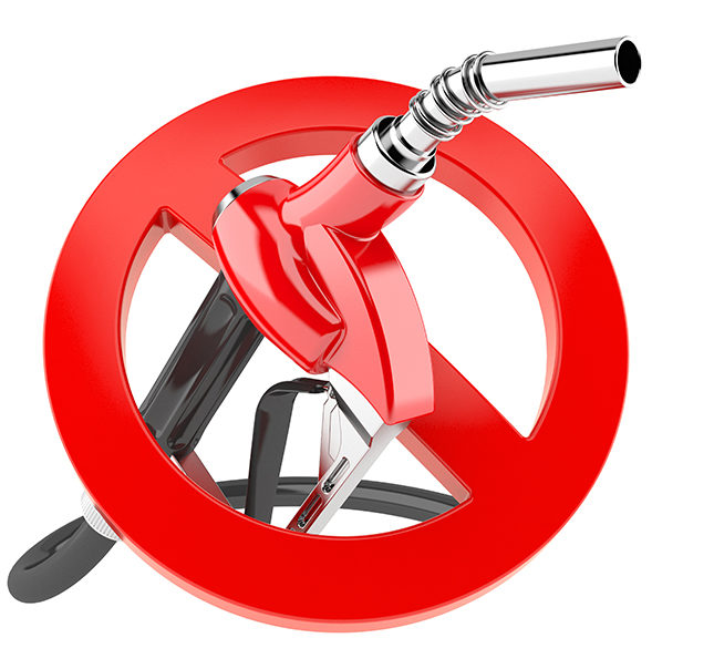 Gasoline nozzle with forbidden sign